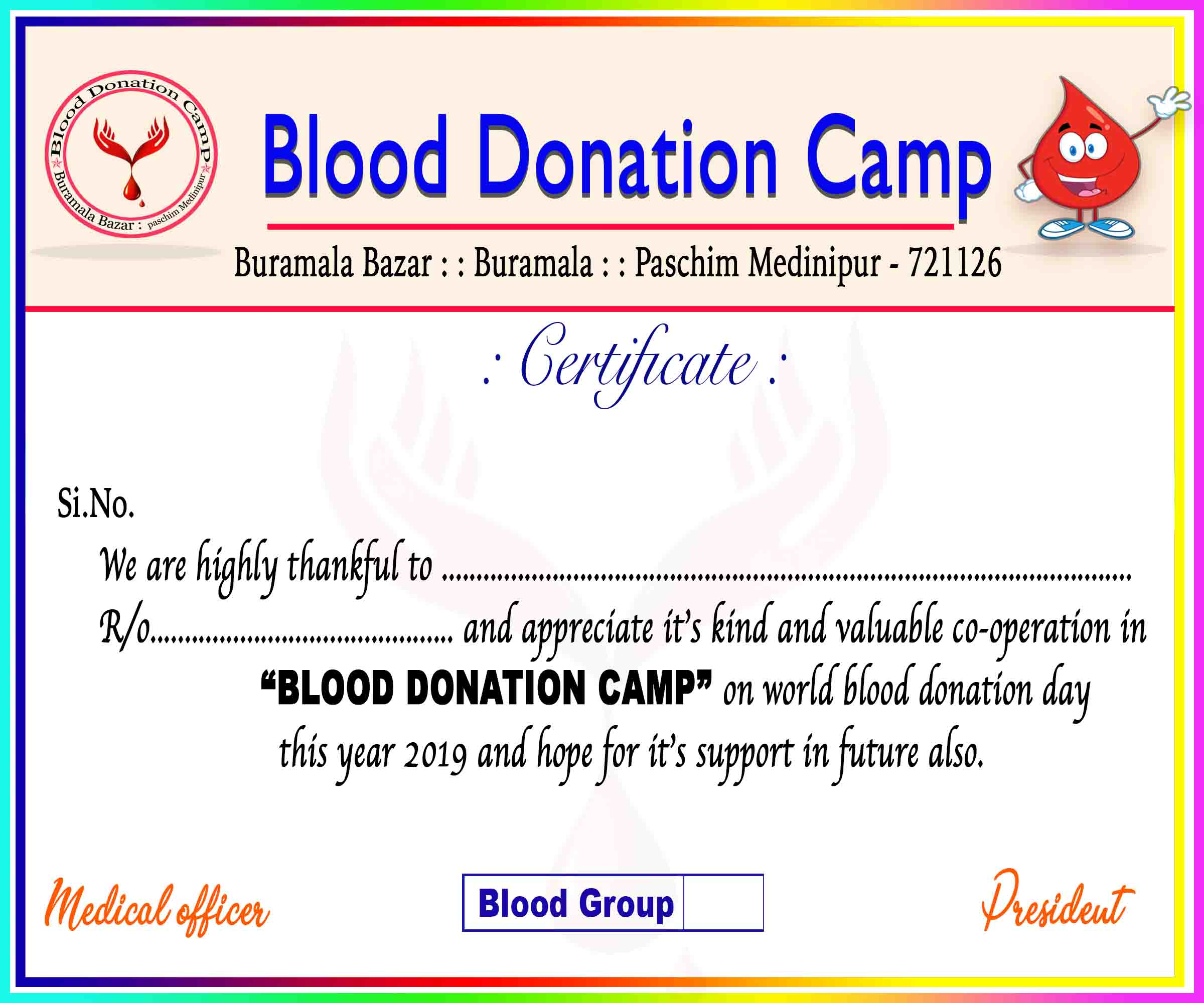 Blood Donation Camp Certificate In Psd Format