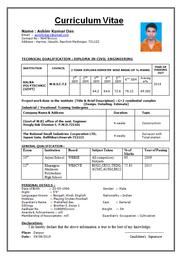 Cv Format For Civil Engineer Freshers Picture Density
